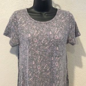 LulaRoe Carly Dress Heathered Floral Gray XS